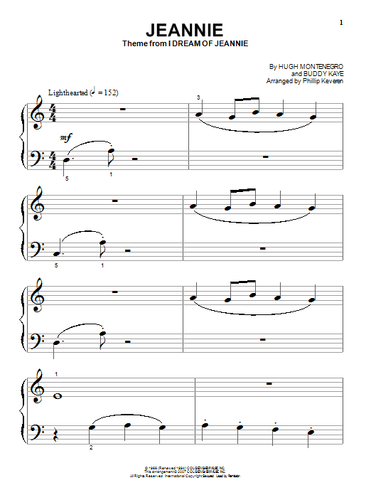 Jeannie sheet music