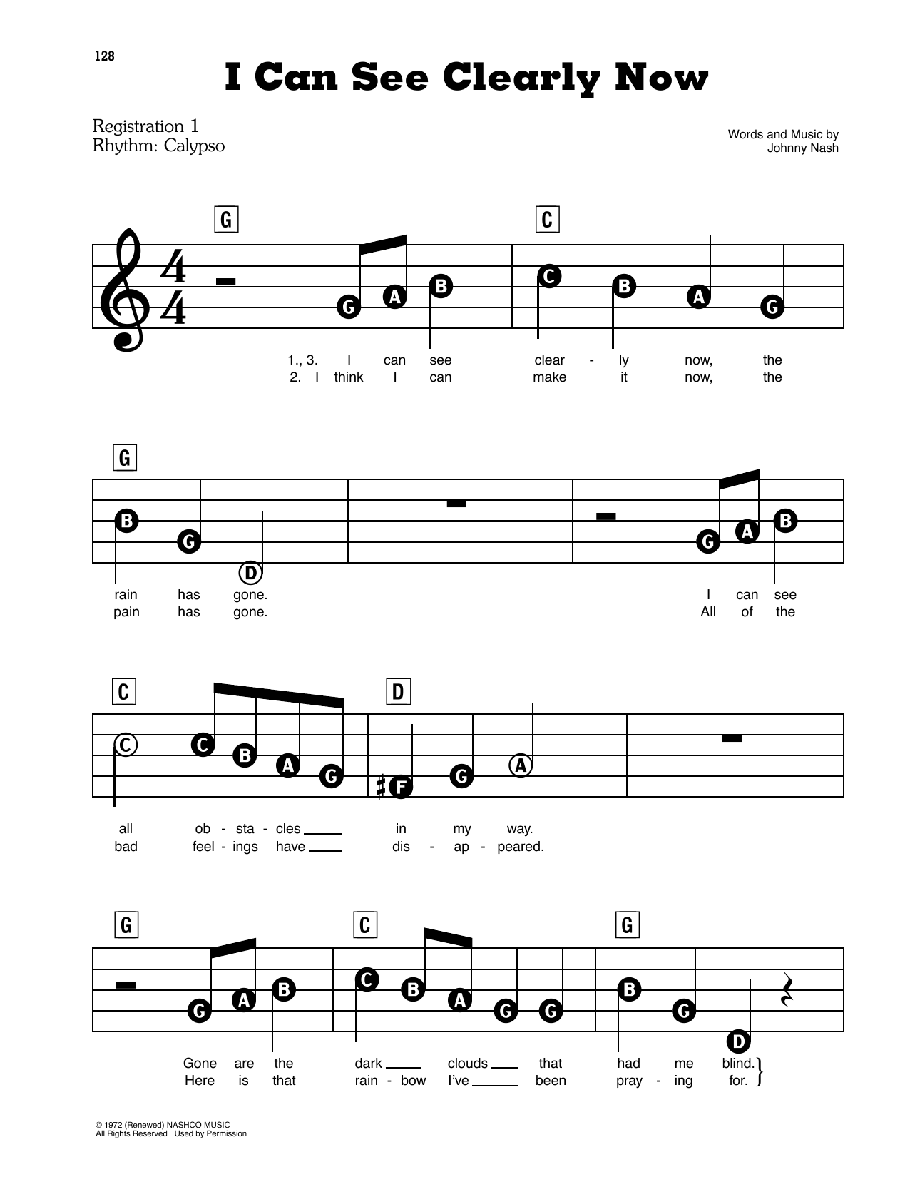 Johnny Nash I Can See Clearly Now Sheet Music Download Pdf Score 357632