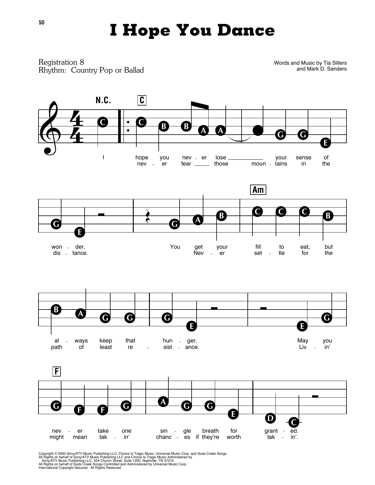 Lee Ann Womack with Sons of the Desert 'I Hope You Dance' Sheet Music  Notes, Chords   Download Printable Educational Piano   SKU 15