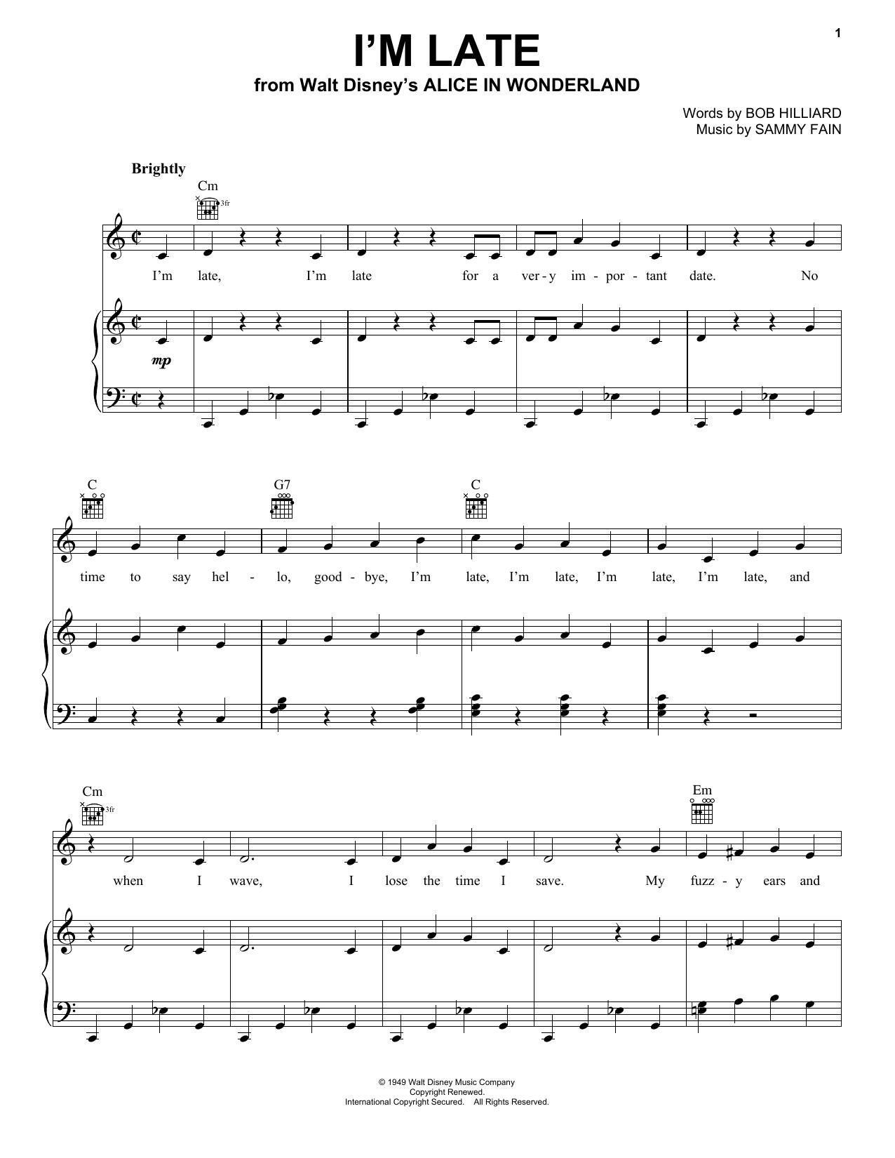 I'm Late sheet music