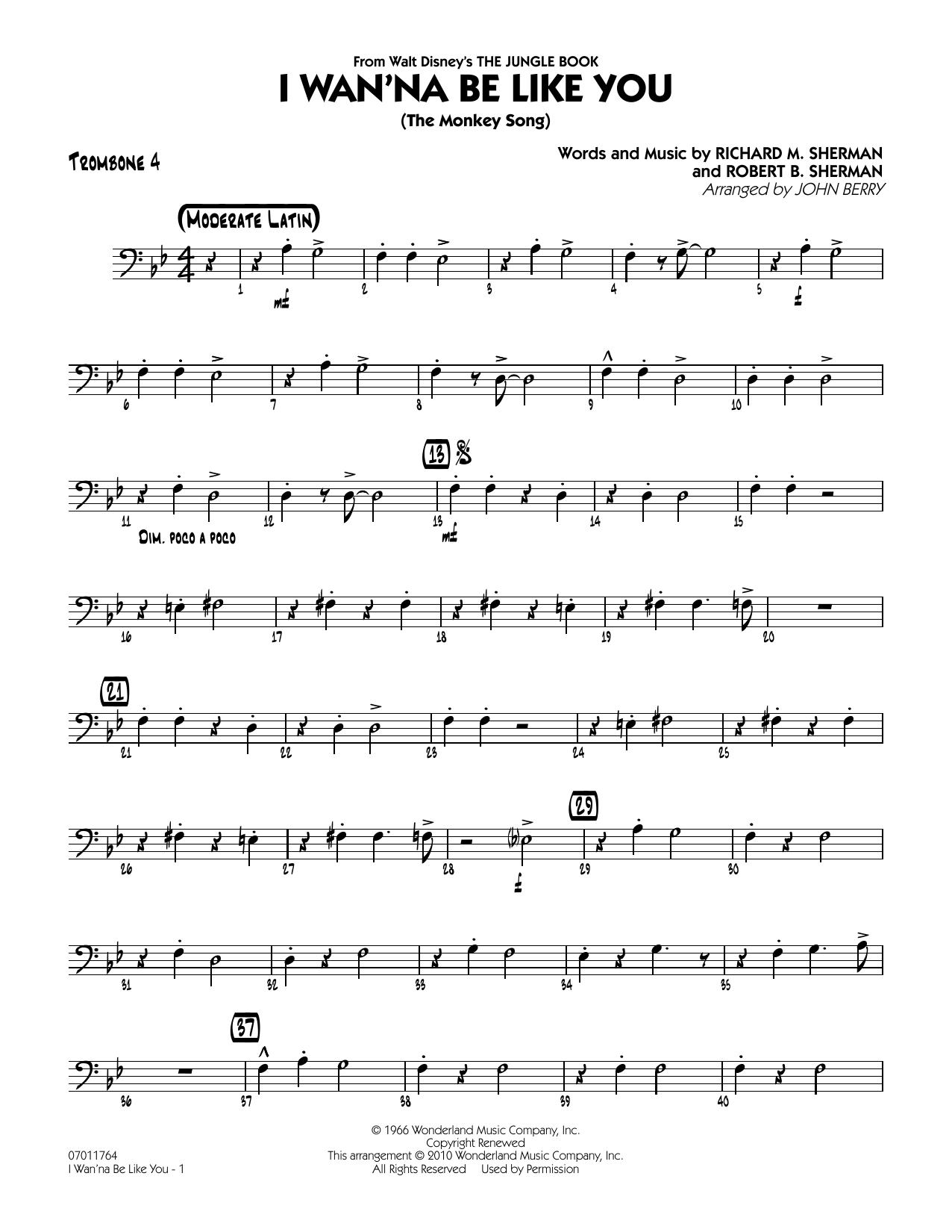 John Berry I Wan Na Be Like You The Monkey Song Trombone 4 Sheet Music Download Pdf Score 293130