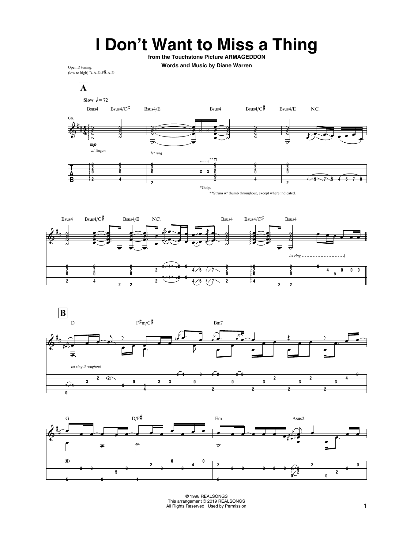 Igor Presnyakov 'I Don't Want To Miss A Thing' Sheet Music Notes, Chords    Download Printable Guitar Tab   SKU 15