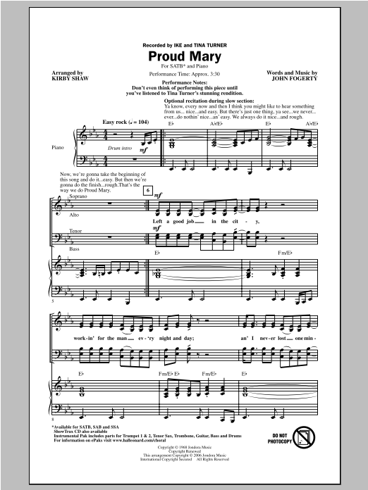 Proud Mary (arr. Kirby Shaw) sheet music