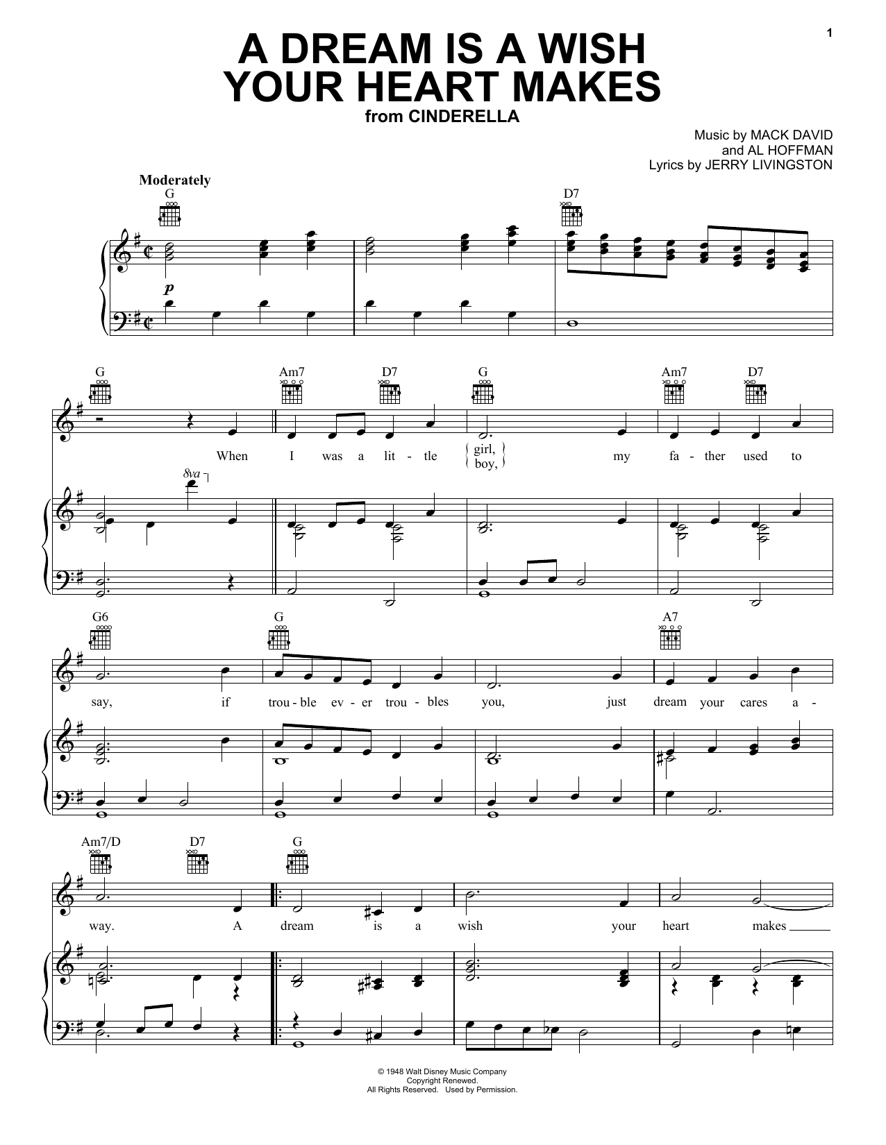 A Dream Is A Wish Your Heart Makes (from Disney's Cinderella) sheet music