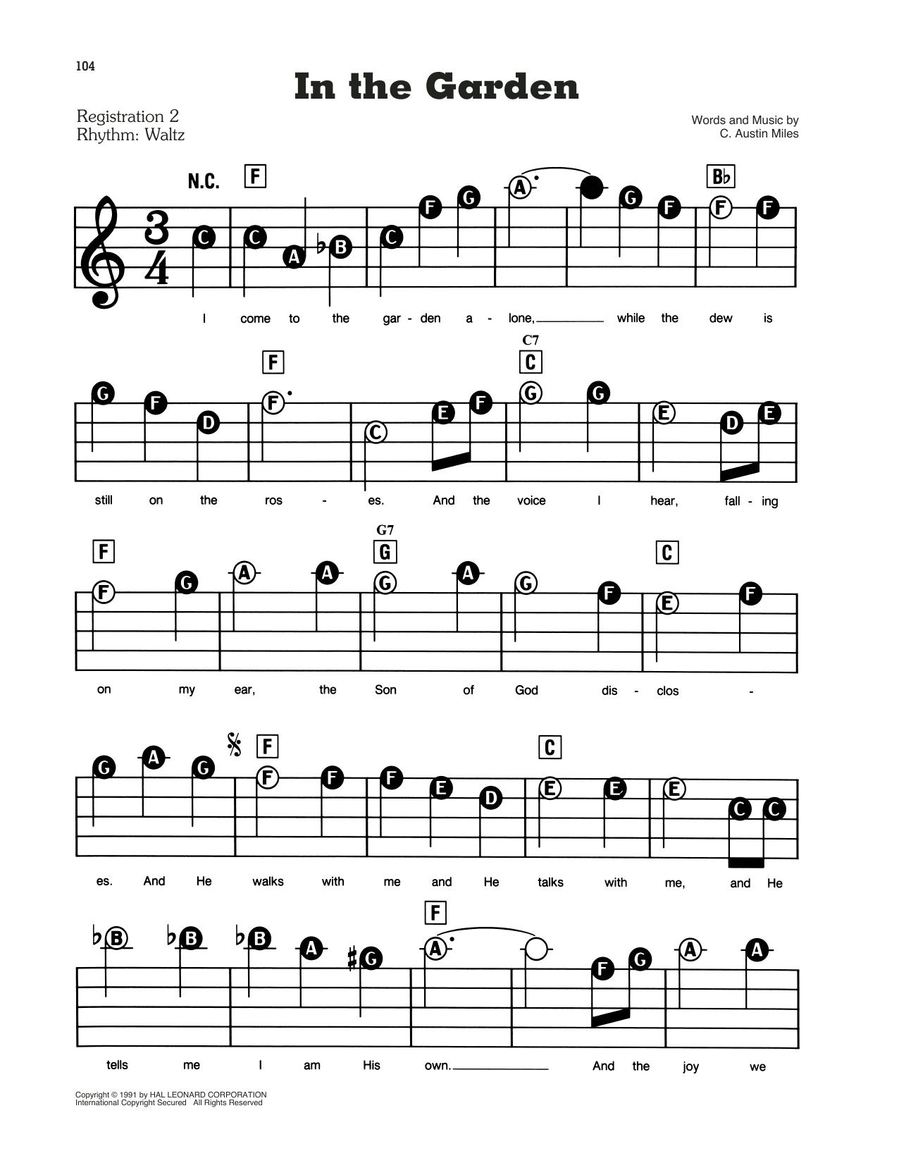 C Austin Miles In The Garden Sheet Music Download Pdf Score 161283