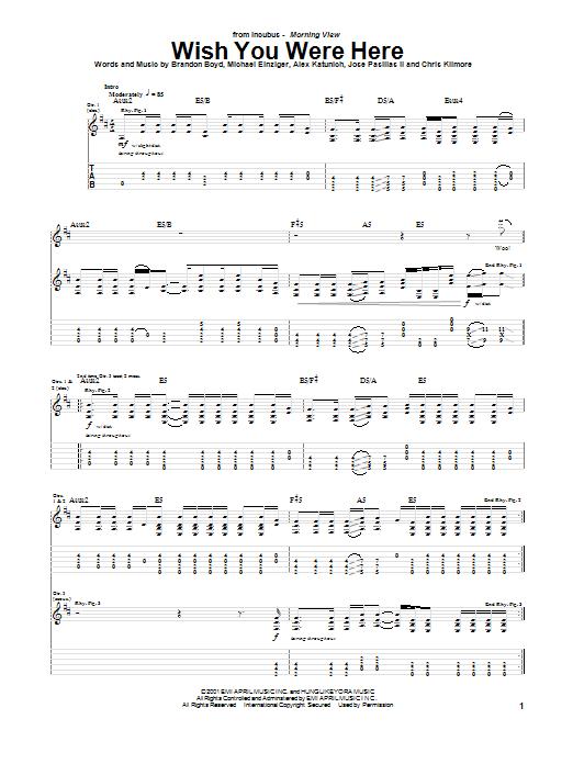 Wish You Were Here sheet music