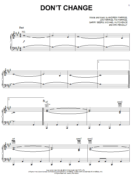 Don't Change sheet music
