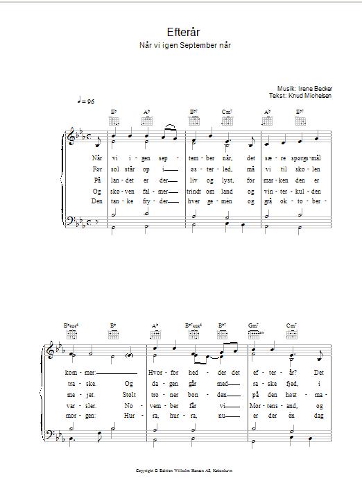 Efterår sheet music