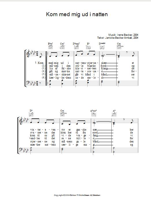 Kom Med Mig Ud I Natten sheet music