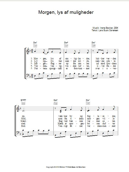 Morgen, Lys Af Muligheder sheet music