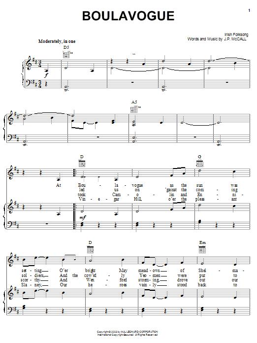 Boulavogue sheet music