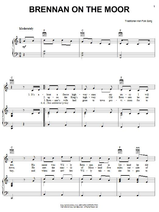 Brennan On The Moor sheet music