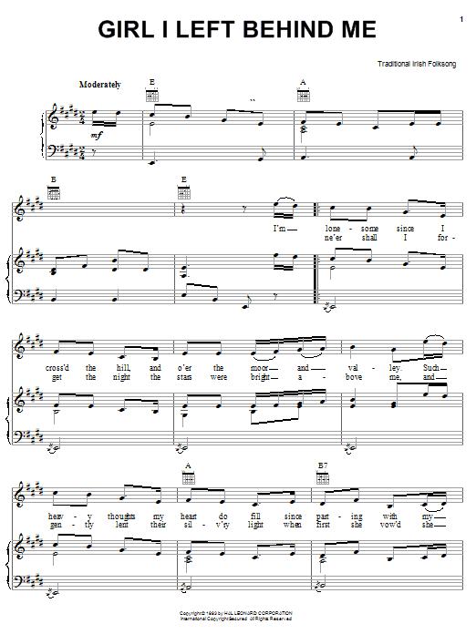 Girl I Left Behind Me sheet music