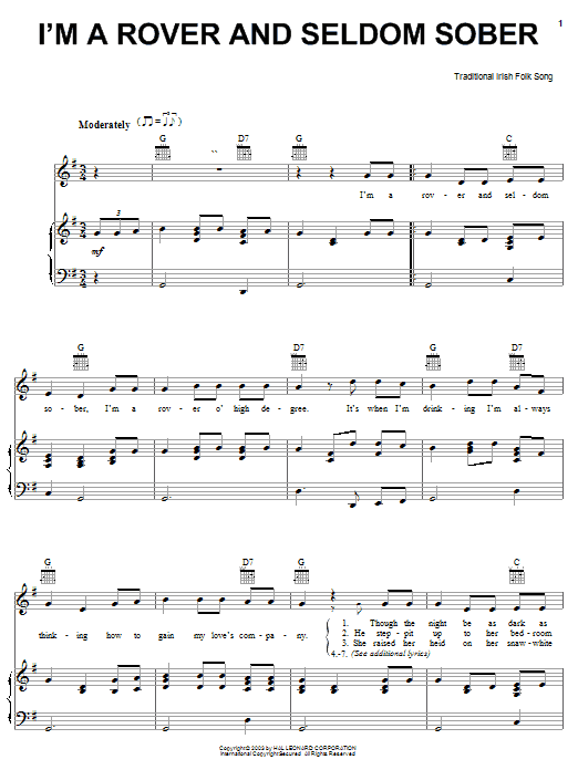 I'm A Rover And Seldom Sober sheet music