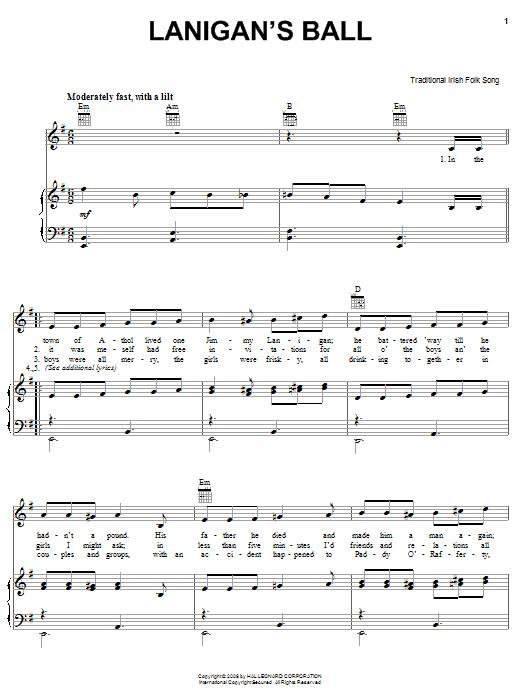 Lanigan's Ball sheet music