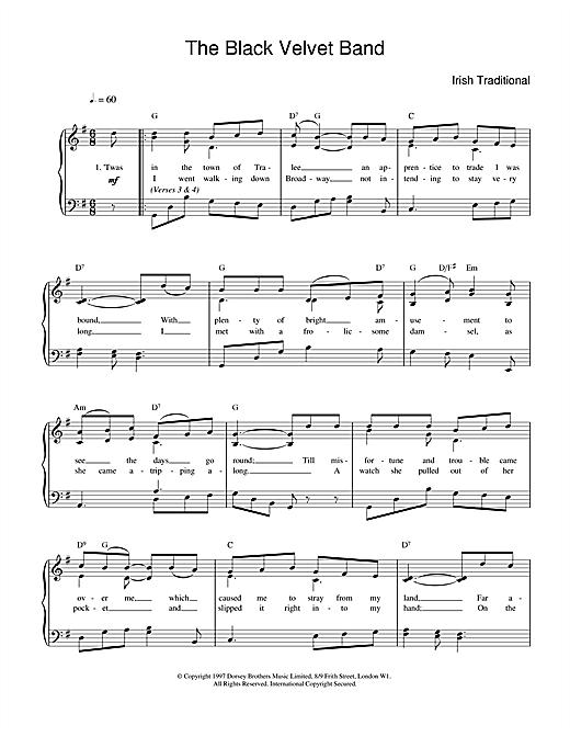 The Black Velvet Band sheet music