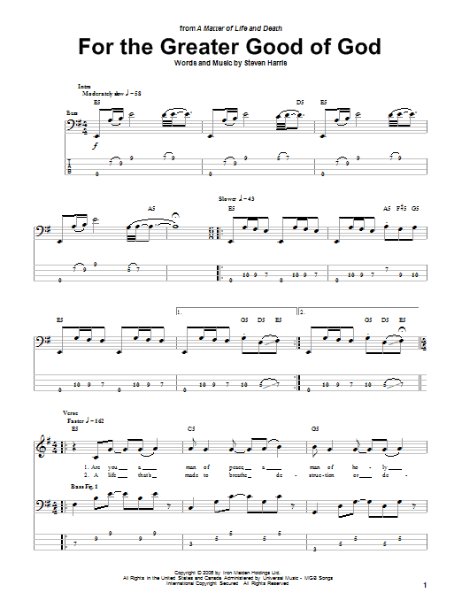 For The Greater Good Of God sheet music