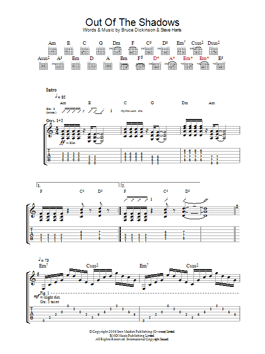 Out Of The Shadows sheet music
