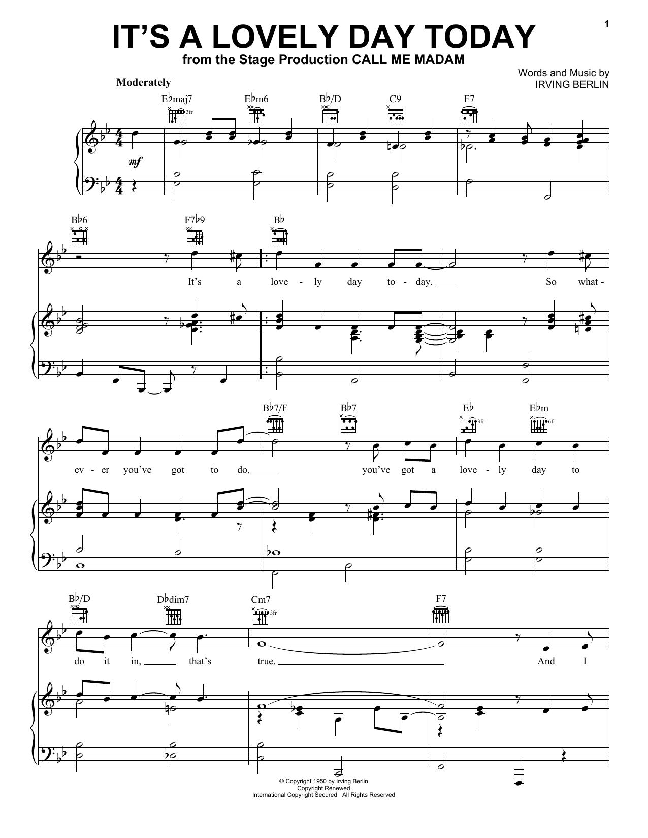 It's A Lovely Day Today sheet music