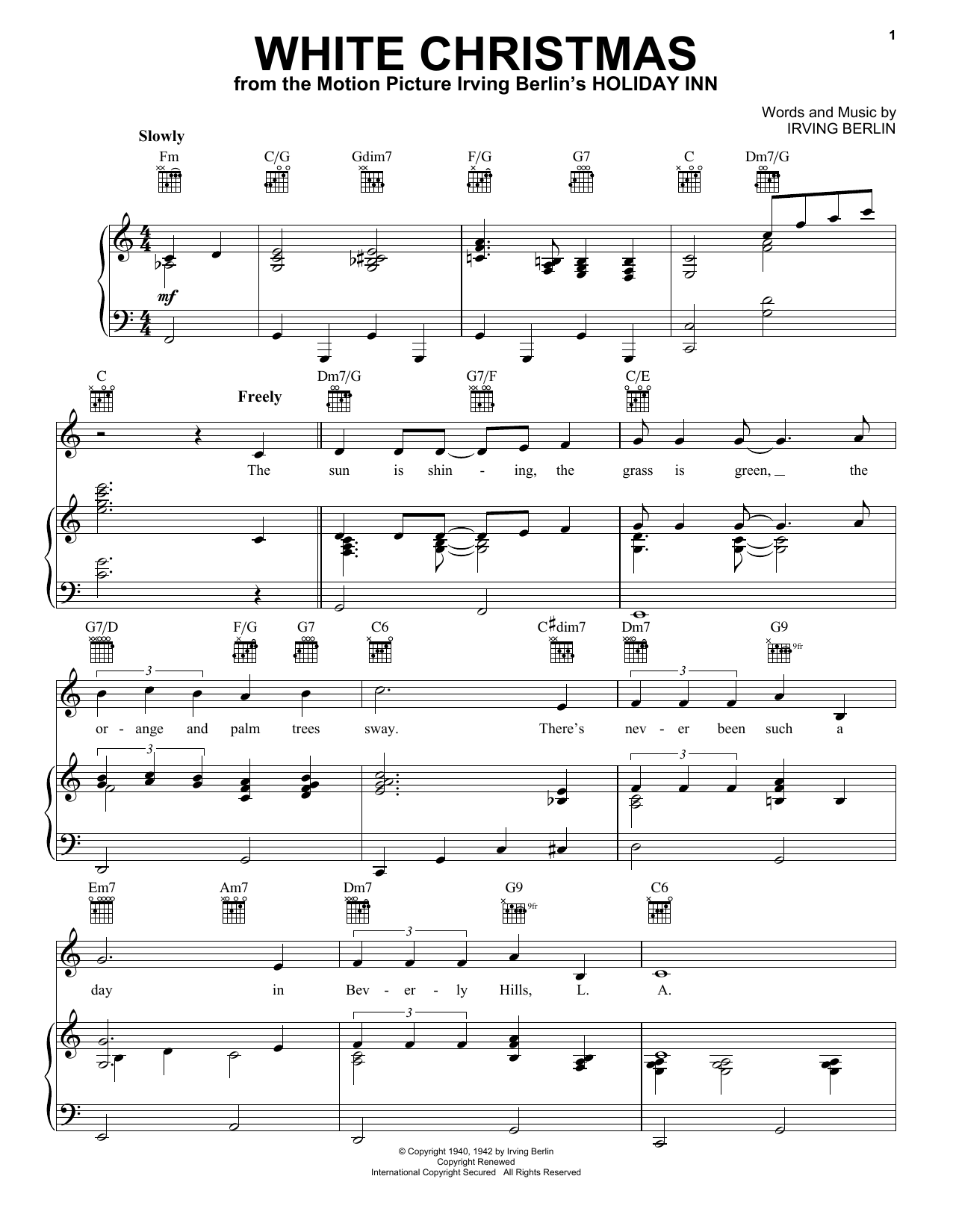 White Christmas sheet music