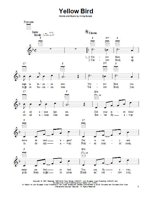 Yellow Bird sheet music