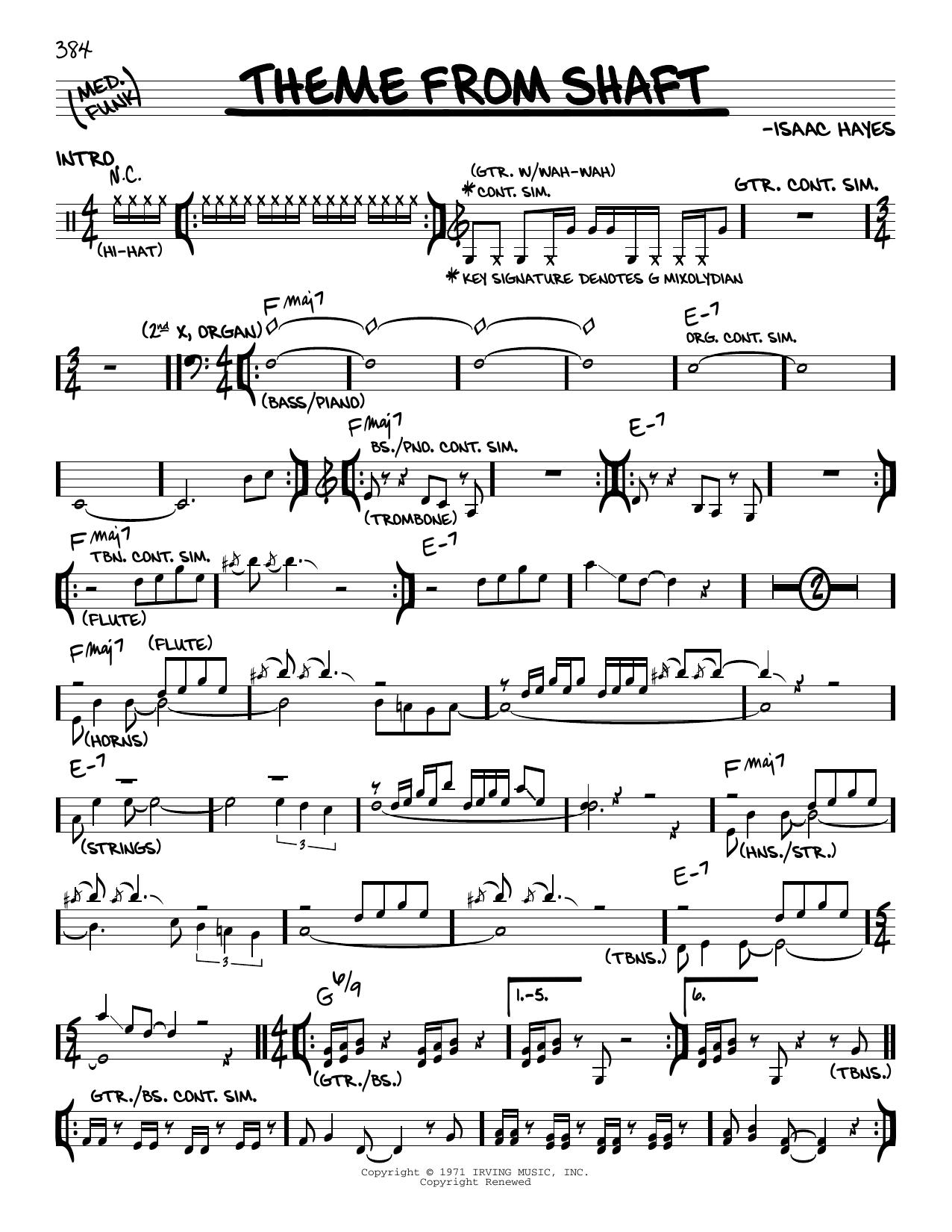 Theme From Shaft sheet music