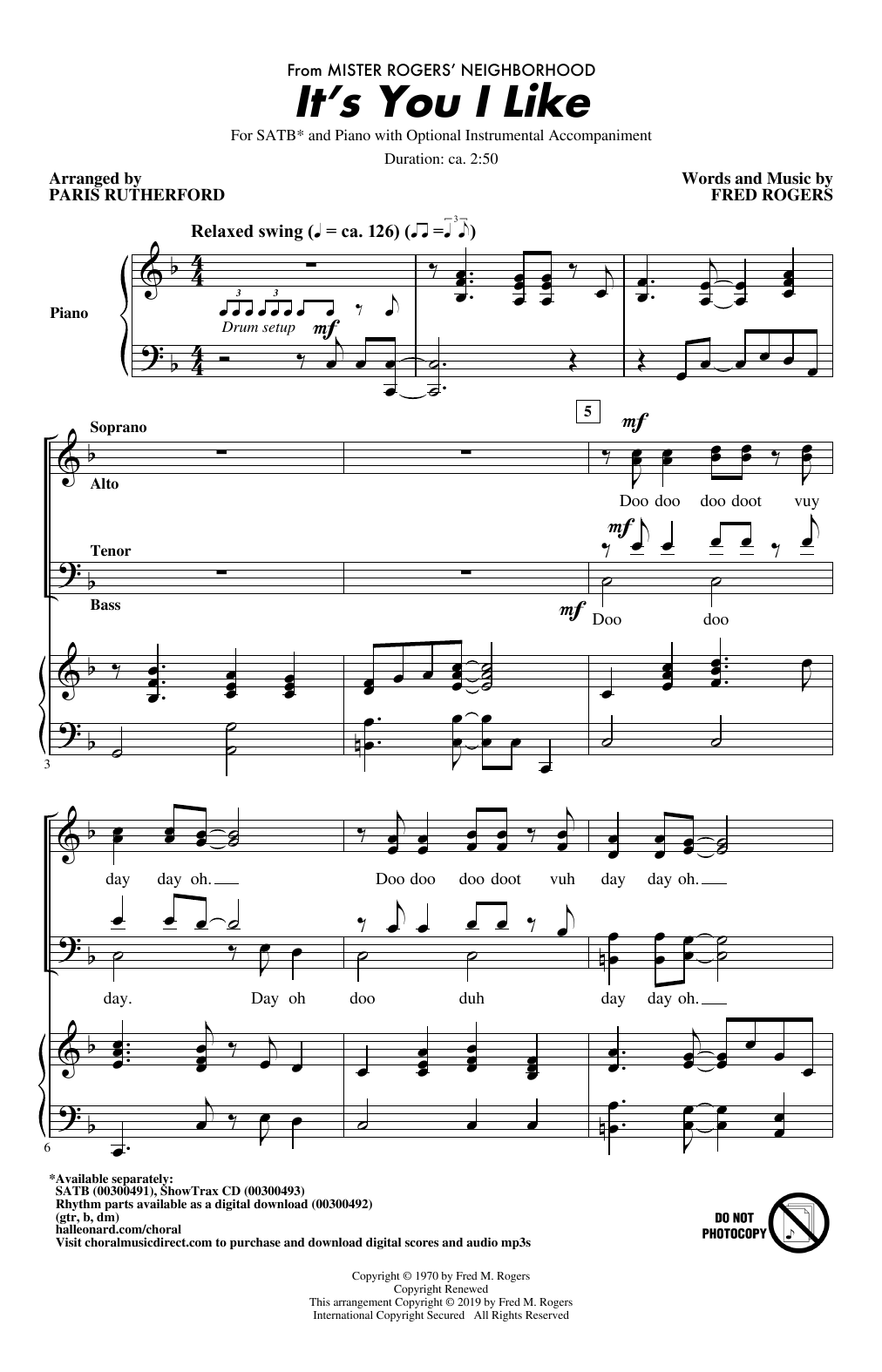 Fred Rogers It S You I Like From Mister Rogers Neighborhood Arr Paris Rutherford Sheet Music Download Pdf Score 426344