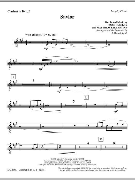 Savior - Clarinet 1 & 2 sheet music