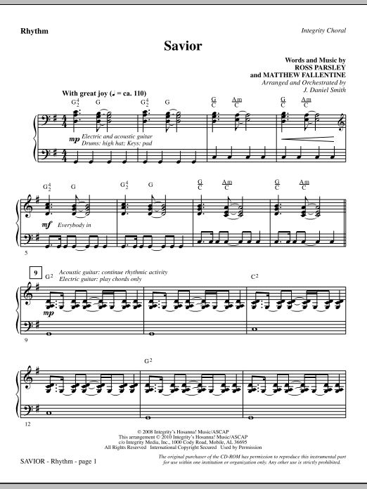 Savior - Rhythm sheet music