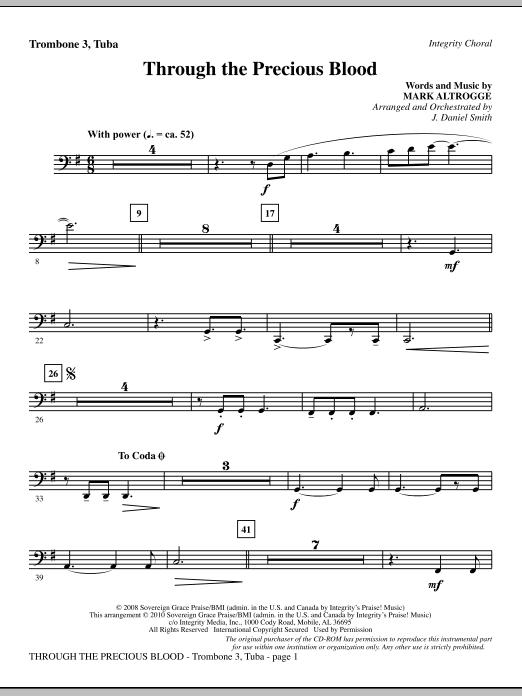 Through The Precious Blood - Trombone 3/Tuba sheet music