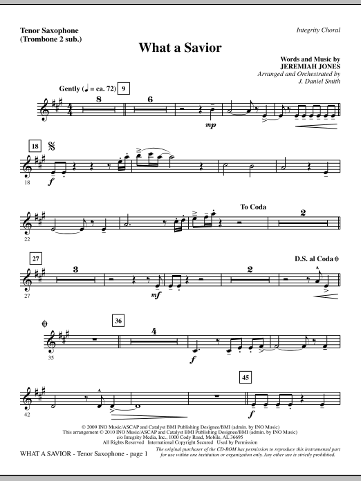 What A Savior - Tenor Sax (sub. Tbn 2) sheet music