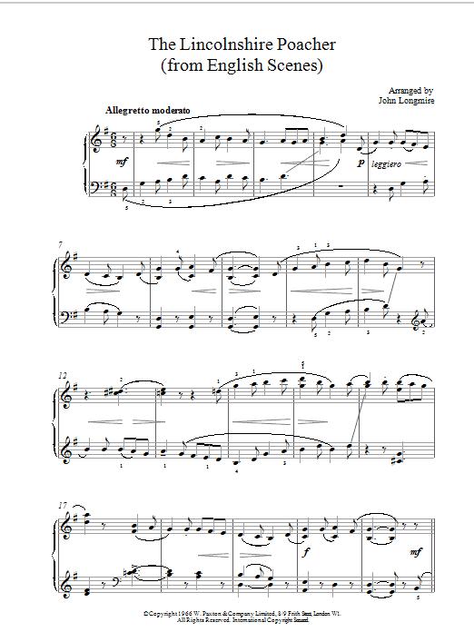 The Lincolnshire Poacher sheet music