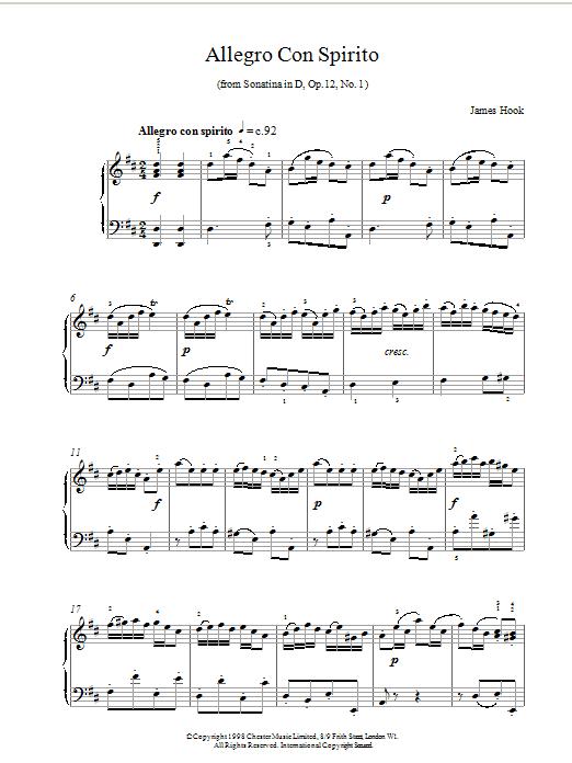 Allegro Con Spirito Op12 No1 sheet music