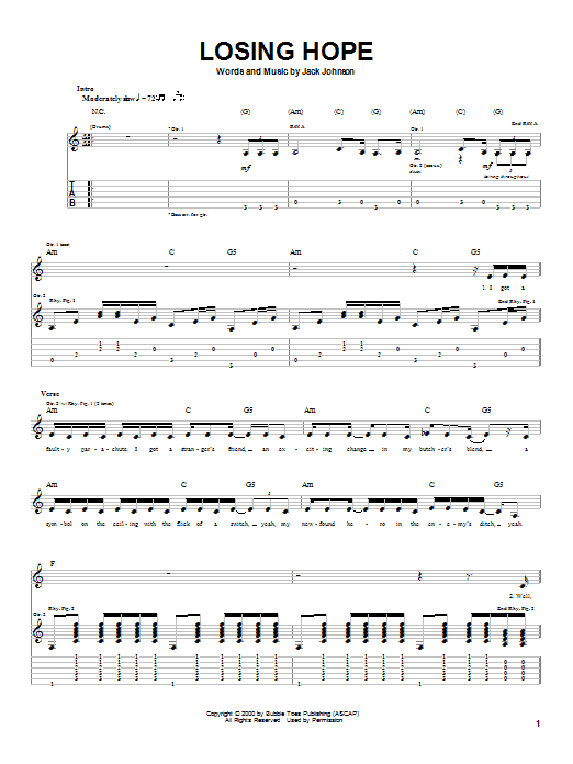 Losing Hope sheet music