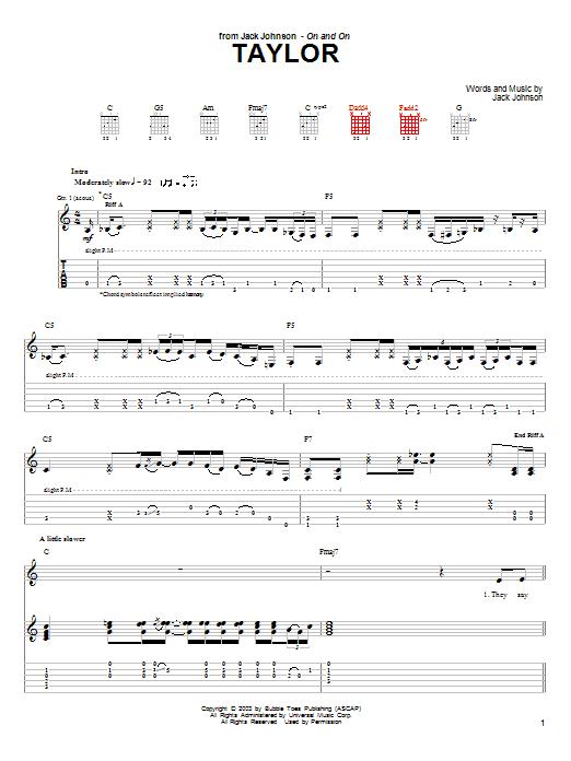 Taylor sheet music