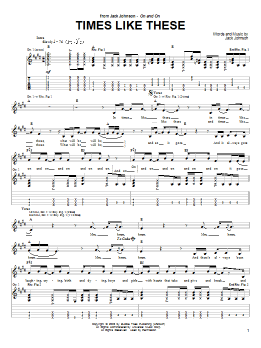 Times Like These sheet music