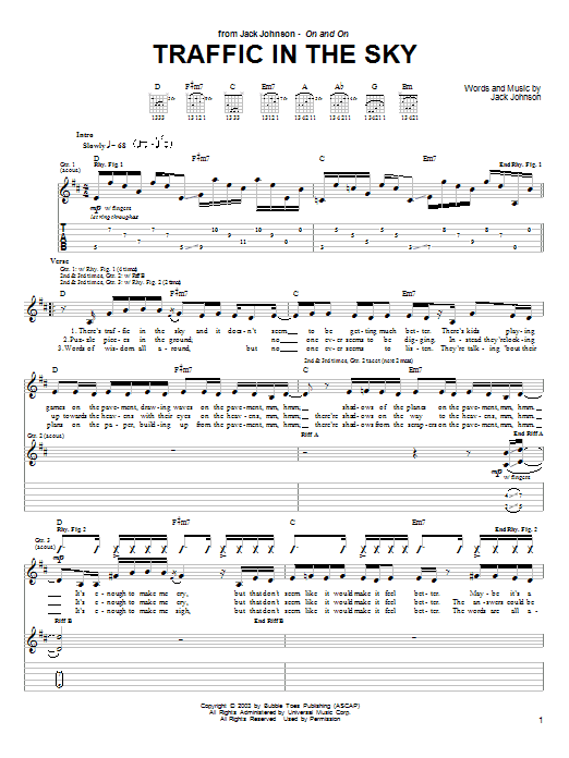 Traffic In The Sky sheet music