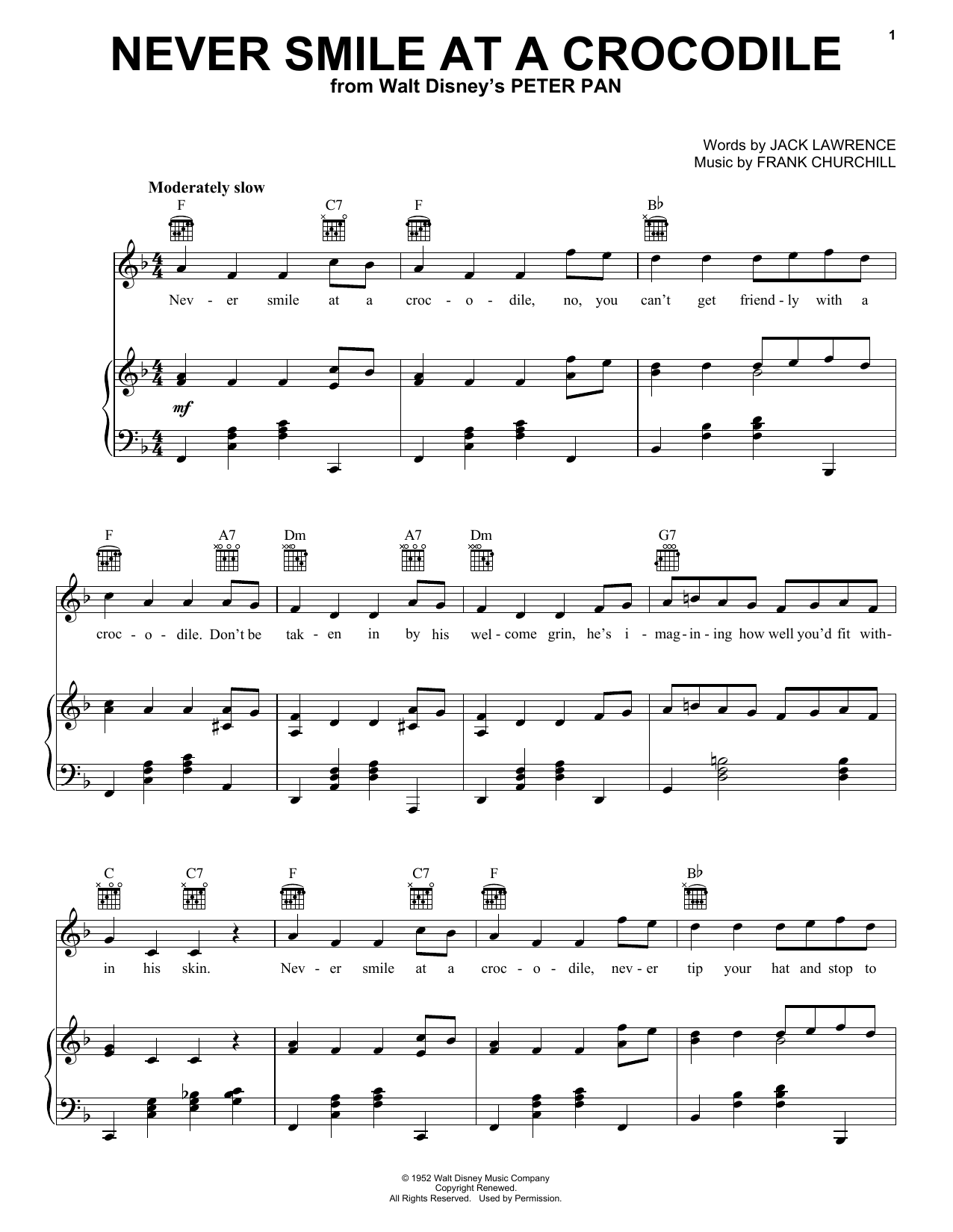 Never Smile At A Crocodile sheet music