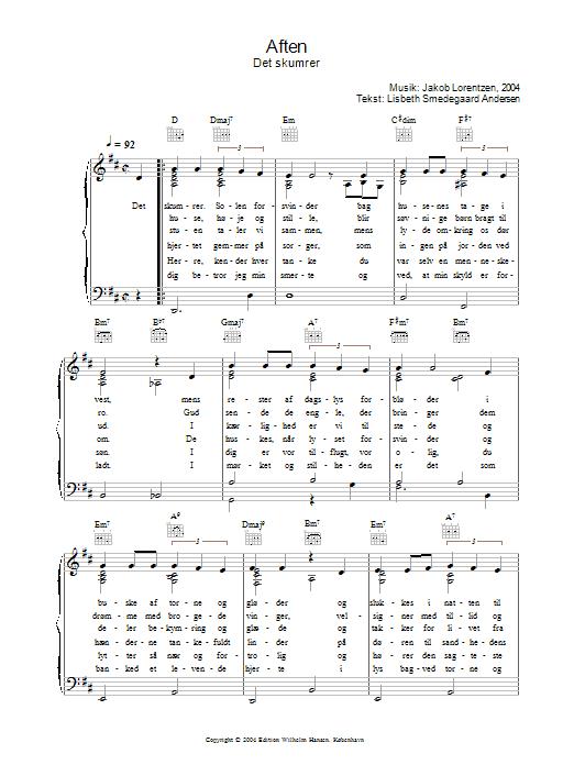 Aften - Det Skumrer sheet music