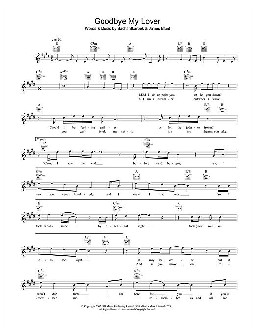 Goodbye My Lover sheet music
