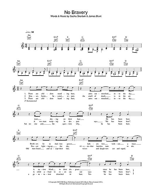 No Bravery sheet music