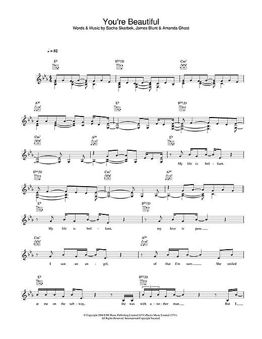James Blunt You Re Beautiful Sheet Music Download Pdf Score 93655