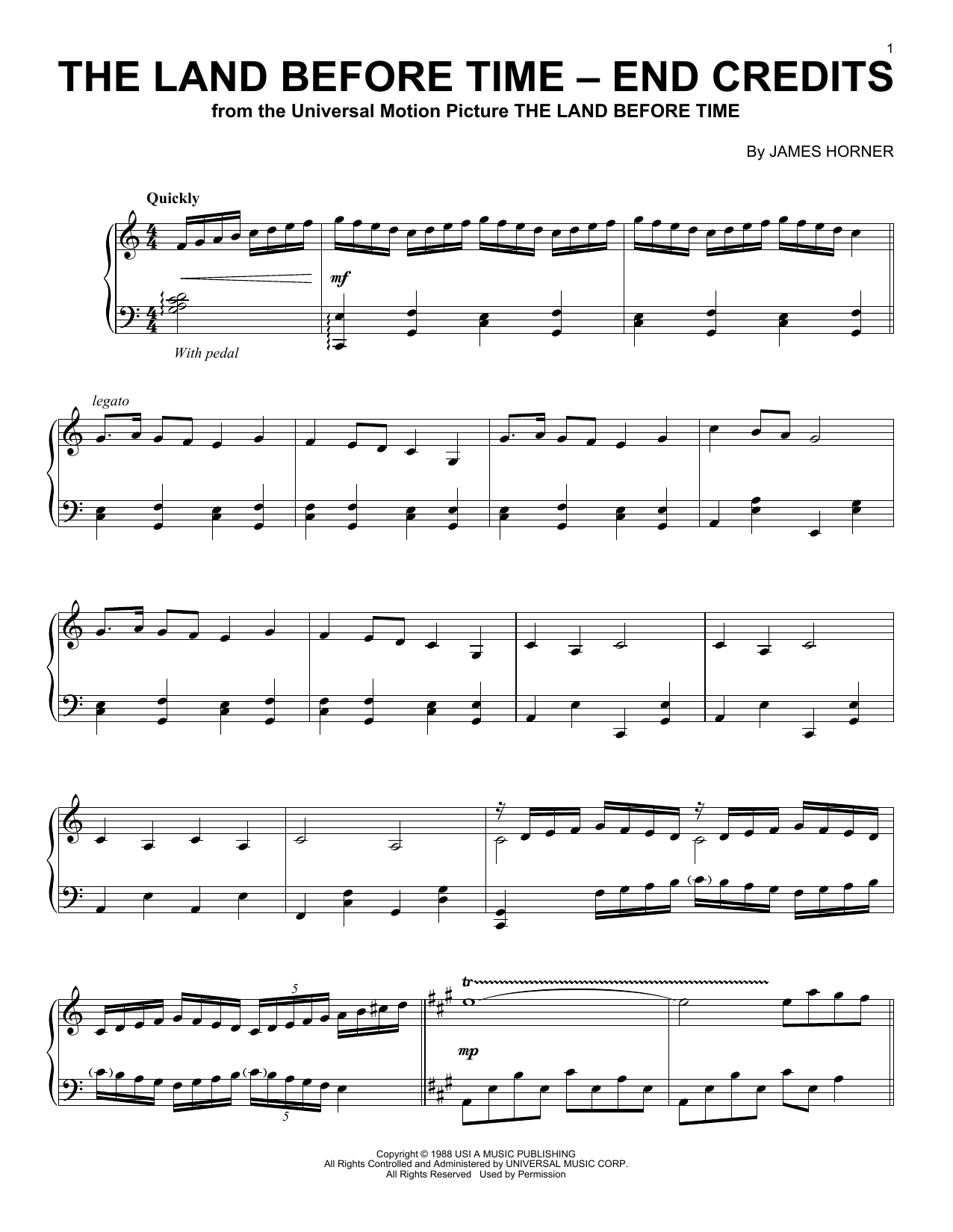The Land Before Time - End Credits sheet music