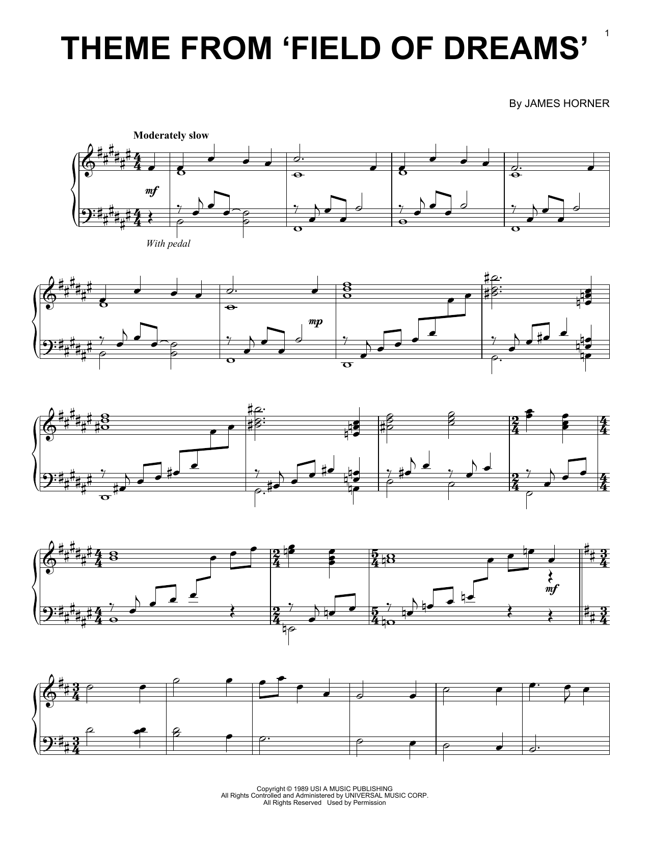 Theme From Field Of Dreams sheet music