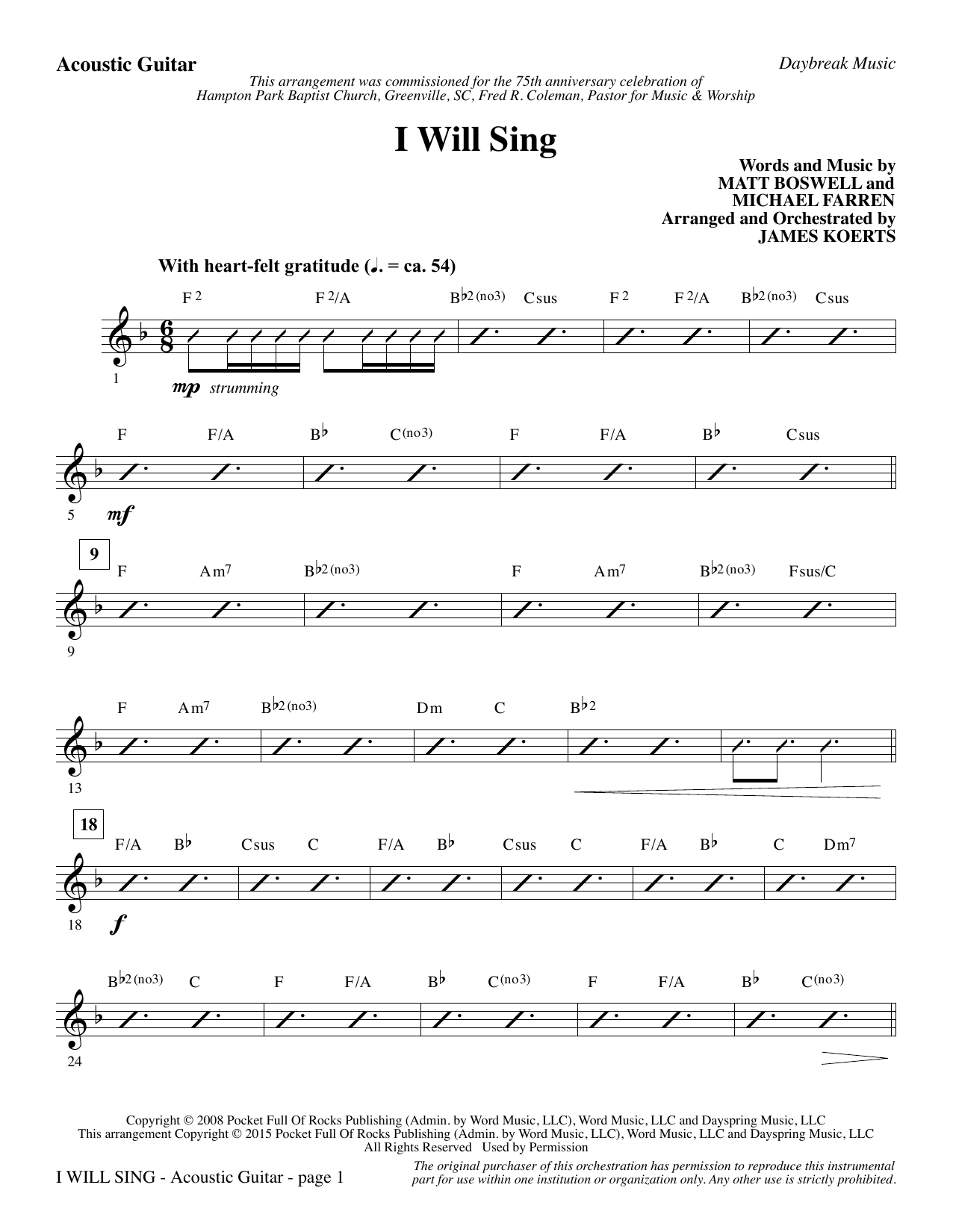 I Will Sing - Acoustic Guitar sheet music