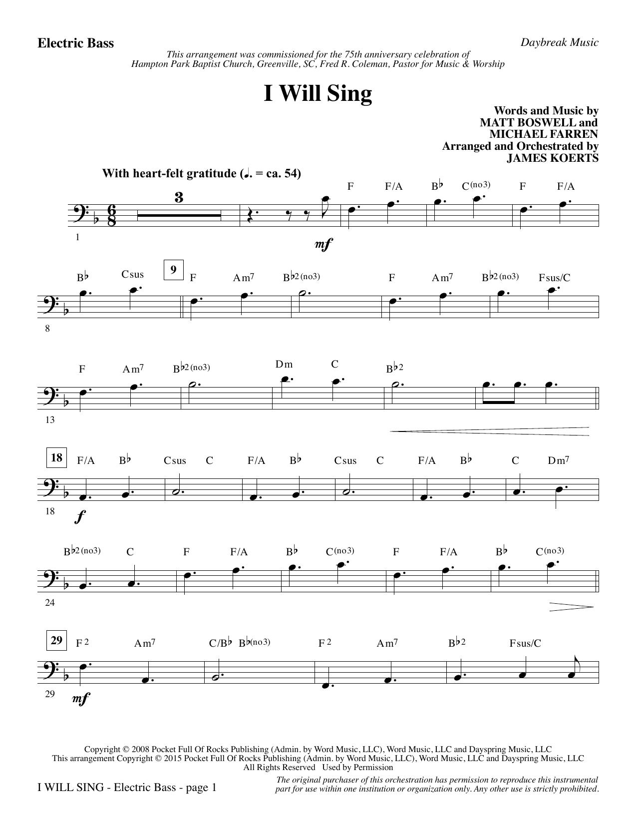 I Will Sing - Electric Bass sheet music
