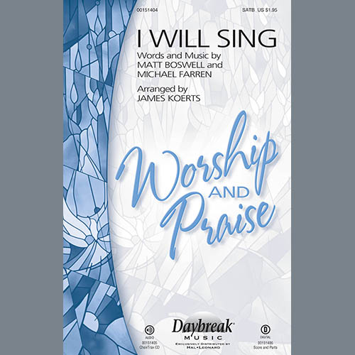 James Koerts, I Will Sing - Mandolin, Choir Instrumental Pak