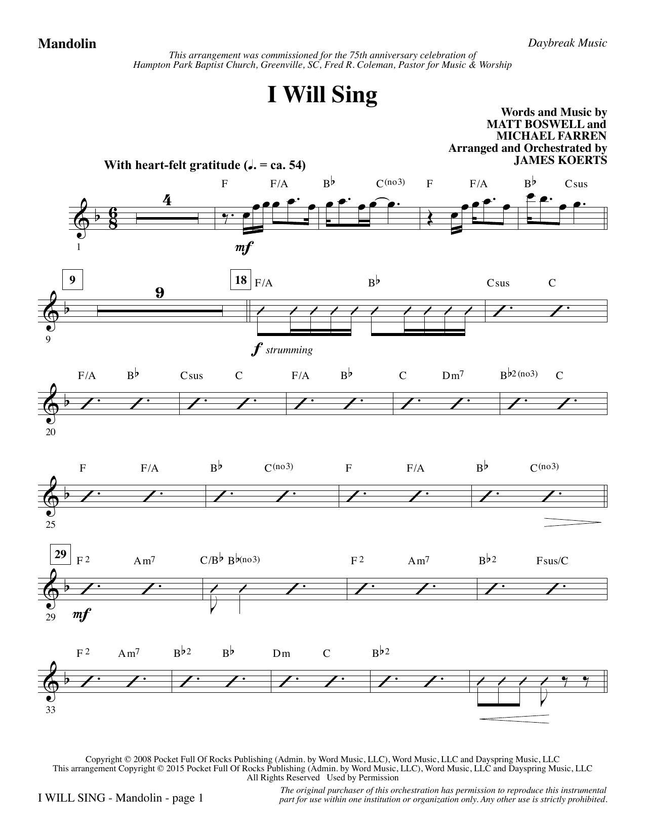 I Will Sing - Mandolin sheet music