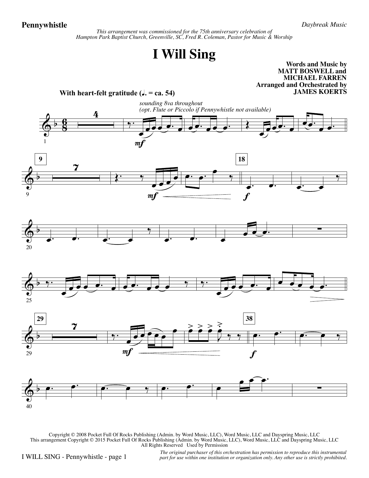 I Will Sing - Pennywhistle/Flute sheet music