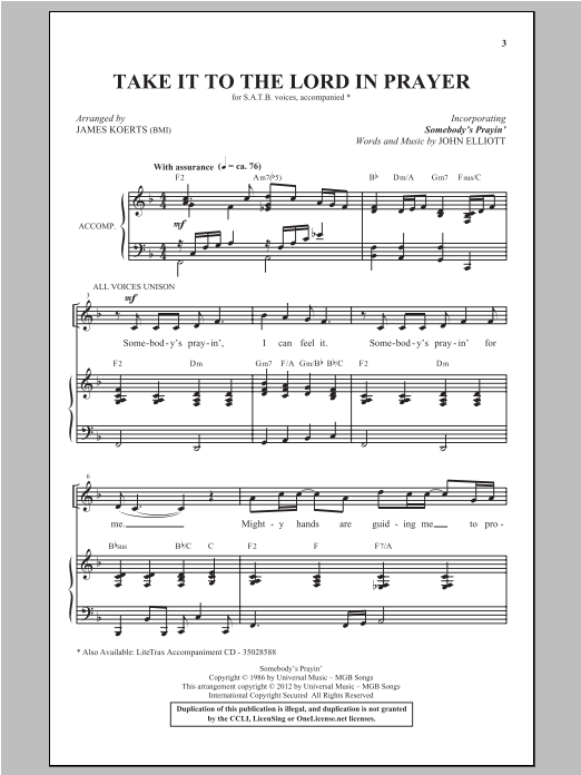 Take It To The Lord In Prayer (with Somebody's Prayin') sheet music